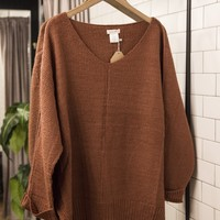 Cuffed  Sleeve Vneck Sweater, Brick