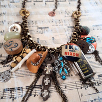 Found Object Charm Necklace - Vintage Charms Repurposed Pinbacks Trinkets Glass Vial Cowgirl