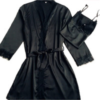 sexy 2016 new arrival brand lace silk robe & gown set free shipping plus size two piece suspender sleepwear + bathing robe hot
