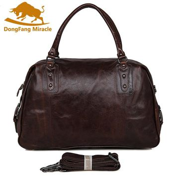 DongFang Miracke Vintage Genuine Leather Men's Classic Travel Bag Luggage Handbag Large Capacity Cross Body Duffle Bag Huge 17""
