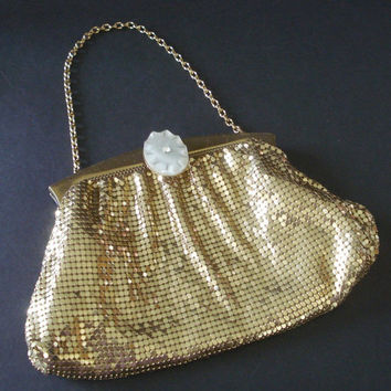 Whiting & Davis Gold Mesh Purse with Stylized Clasp Closure - Excellent Vintage Condition