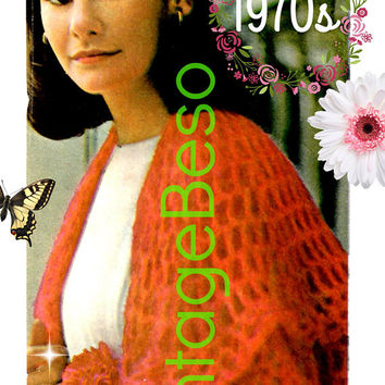 Shawl CROCHET Pattern • PdF Pattern • Feminine Mesh Shawl • Boho Lovely • Vintage 1970s • Cool Summer Evenings