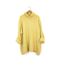 90s Haystack Yellow Turtleneck Sweater Ovesrized Loose Knit Pullover Top Chunky Knit Sweater Basic Long Sweater Boho Top Womens Large XL