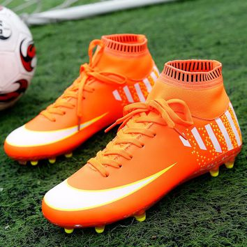 sufei Men Soccer Shoes FG High Ankle Football Boots Superfly Adult Training Soccer Cleats Sneakers Size 40-45