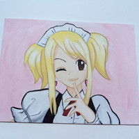 "Lucy Heartfilia Maid Anime Art Painting Fairy Tail 12"" x 9"""