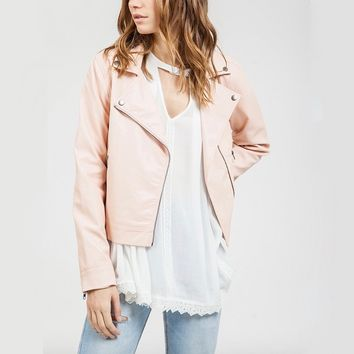 blu pepper - vegan leather jacket - light blush pink