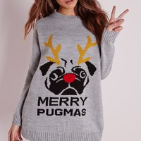 Missguided - Merry Pugmas Christmas Jumper Grey