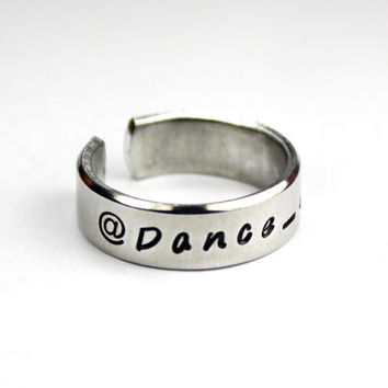 Internet Handle Ring, Personalized Online Username Ring, Your Internet Alias, Screen Name, Hand Stamped Aluminum Cuff Ring