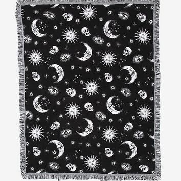Black & White Celestial Woven Tapestry Throw Blanket