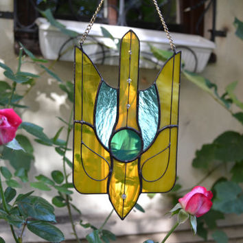 Stained Glass Suncatcher Abstract Art Decor with motives of Ukrainian Symbol