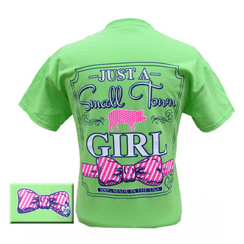 Lilly Paige Bjaxx Just a Small Town Girl Big Bow Pig Country Girlie Bright T Shirt