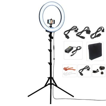 "Camera Photo/Studio/Phone/Video 18""55W 240 LED Ring Light 5500K Photography Dimmable Ring Lamp with Plastic Color/Tripod Stand"