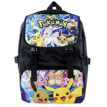 Pokemon Style 2 Nylon Waterproof Laptop Shoulder / Schoolbag Backpack