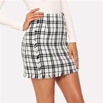 Spice Your Life Black And White Plaid Mini Skirt