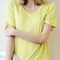 Yellow V-Neckline Short Sleeve Loose Fitting Shirt