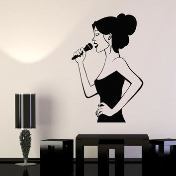 Vinyl Wall Decal Karaoke Club Singer Woman With Microphone Stickers (2159ig)