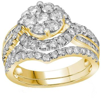14kt Yellow Gold Womens Round Diamond Flower Cluster Bridal Wedding Engagement Ring Band Set 2-1-2 Cttw