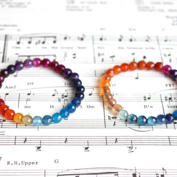 Handmade rainbow color agate beads stretchable bracelet, 6mm beads, yoga bracelet, reiki bracelet, colorful summer bracelet, LGBT bracelet.