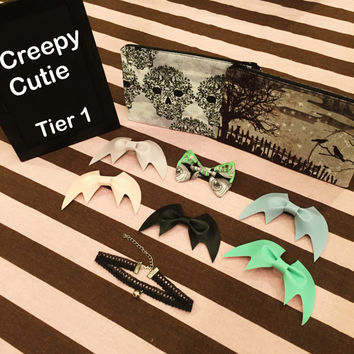 Creepy Cutie Dark Kawaii Pastel Goth Soft Grunge Harajuku Bat Bow Jfashion Tee Makeup Pouch Bag Fuzzy Hairclip Neko Cat Collar Choker