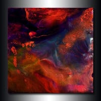 Metallic Copper Jewel Toned Mineral Painting 6x6