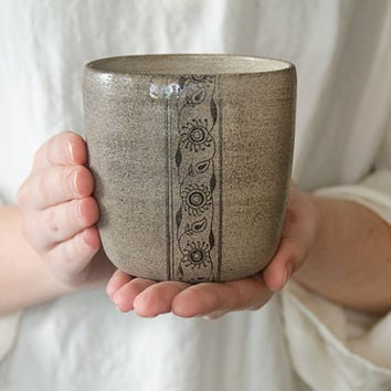 Ceramic tumbler, big coffee mug, white mug, minimalist pottery, studio pottery, stoneware tumbler, hand thrown cupsת MADE FOR ORDER