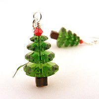 Christmas Tree Earrings made with Swarovski Crystal Elements Sterling Silver Ear Wires