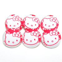 Hello Kitty fabric sewing buttons,set of 6, red cloth buttons, covered medium buttons, sew buttons, cover button, kawaii cute cat cats sale