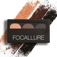3 Color Waterproof Eye Shadow Eyebrow Powder Palette by Focallure