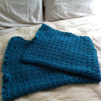 Teal Blue Green Crocheted Baby Afghan Small Throw Blanket Handmade Cute