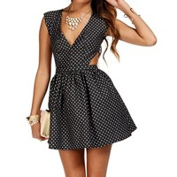 Gray/White Polka Dot Cutout Sides Dress