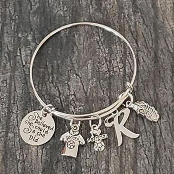Personalized Field Hockey She Believed She Could So She Did Bangle Bracelet