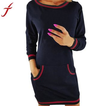 Feitong Loose Autumn Dress Fashion O Neck Long Sleeve Dress With Pocket Ladies Casual Bodycon Patchwork Cotton Dress vestidos