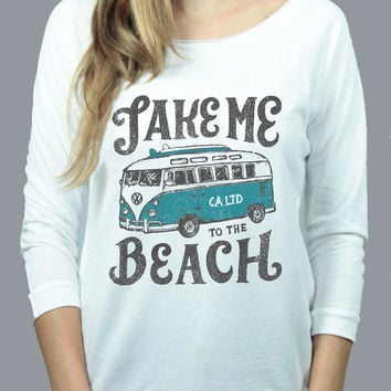 Take Me To The Beach Raw Edge Raglan