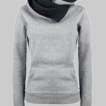 Grey Pockets Long Sleeve Cowl Neck Hooded Casual Pullover Sweatshirt