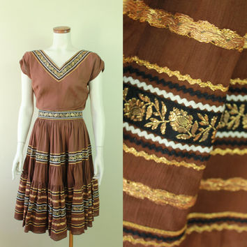 50s/60s - Brown - Metallic Gold - Floral Ribbon - Bric a Brac - Shirt - Circle Skirt - Belt Set - Ethnic Mexican Dress - Fiesta Fashions