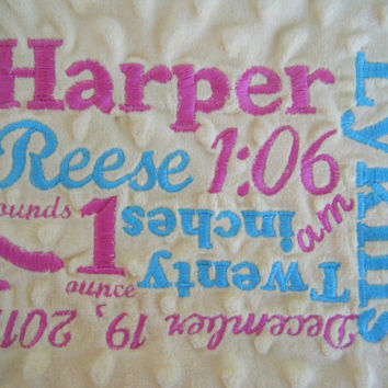 Personalized Collage Embroidery Add to a Tag Blanket, Kitchen Towel, Burp Cloth, Baby Blanket, Bath Towel, Wedding Gift, Baby Shower Gift