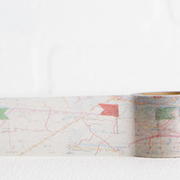 Large Map with Flag Washi Tape, Map Washi for Scrapbooking, Decorating, Labeling, Stocking Stuffer 20mm x 5m