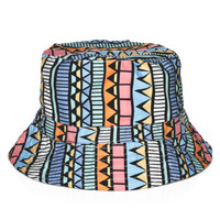 Vintage Aztec Adult Unisex Blue Orange & Pink Casual Summer Beach Flat Bucket Hat