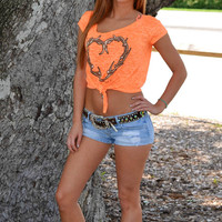 Cute Country girl neon orange hunting top