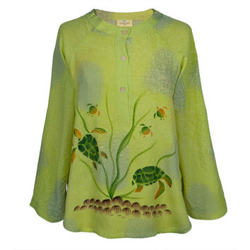 Hand-Painted Turtle Light Green Women's Blouse