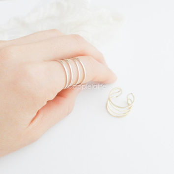 4 lines ring, dainty ring, simple band