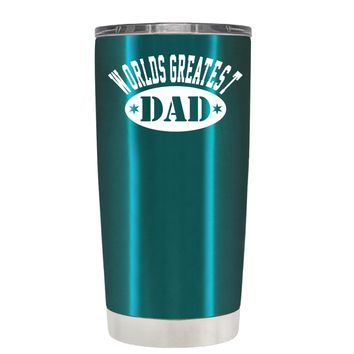Worlds Greatest Dad on Translucent Teal 20 oz Tumbler Cup