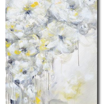 GICLEE PRINT Art Yellow Grey Abstract Painting White Flowers Modern Coastal Floral Canvas Art Gold Neutral Wall Decor
