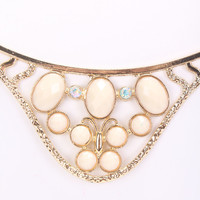Gold White Gemstone Design Rhinestone Accent Detailed Carved Necklace