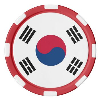 Poker chips with Flag of South Korea