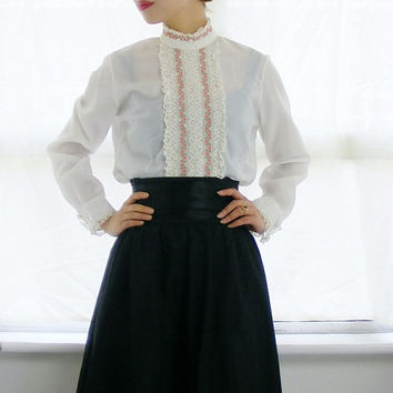 Vintage 1960s White Blouse - Folk Blouse with Red Floral Panel - Victorian White Shirt - Hungarian Folk Blouse (small medium)