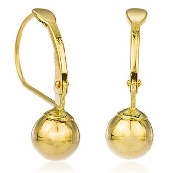 14k Yellow Gold 8mm Dangle Ball Drop Simple Leverback Earrings