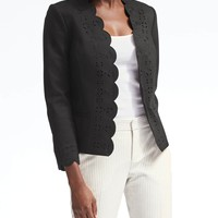 Ponte Scallop Laser-Cut Blazer | Banana Republic