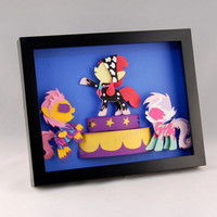 3-D MLP Cutie Mark Crusaders Talent Show Rock Concert Outfits - Framed 8x10 Shadowbox Paper Art My Little Pony CMC Shadow Box