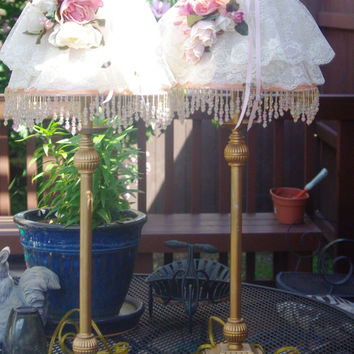 Pair Victorian Style Brass Table Lamps with Handmade Shades with White Lace, Pink Flowers and Beaded